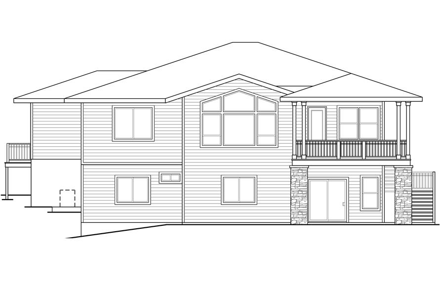 108-1790: Home Plan Rear Elevation