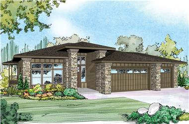 Front elevation of Prairie home (ThePlanCollection: House Plan #108-1790)