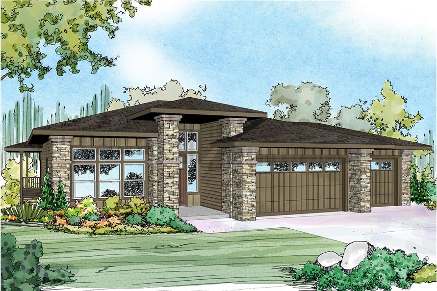 3-Bedroom, 2579 Sq Ft Prairie Home Plan - 108-1790 - Main Exterior