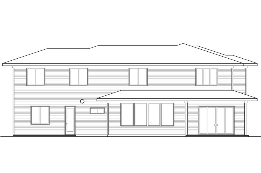 Home Plan Rear Elevation of this 4-Bedroom,3109 Sq Ft Plan -108-1791
