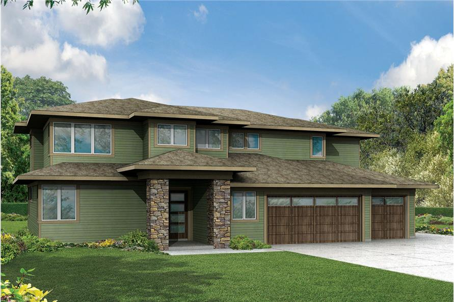 4-Bedroom, 3109 Sq Ft Prairie House Plan - 108-1791 - Front Exterior