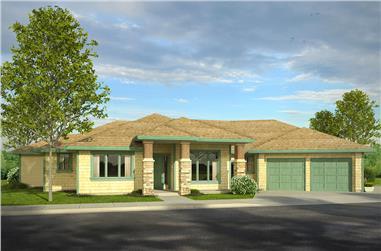 3-Bedroom, 3189 Sq Ft Prairie Home Plan - 108-1796 - Main Exterior