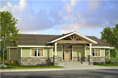 2-Bedroom, 1712 Sq Ft Prairie House Plan - 108-1800 - Front Exterior