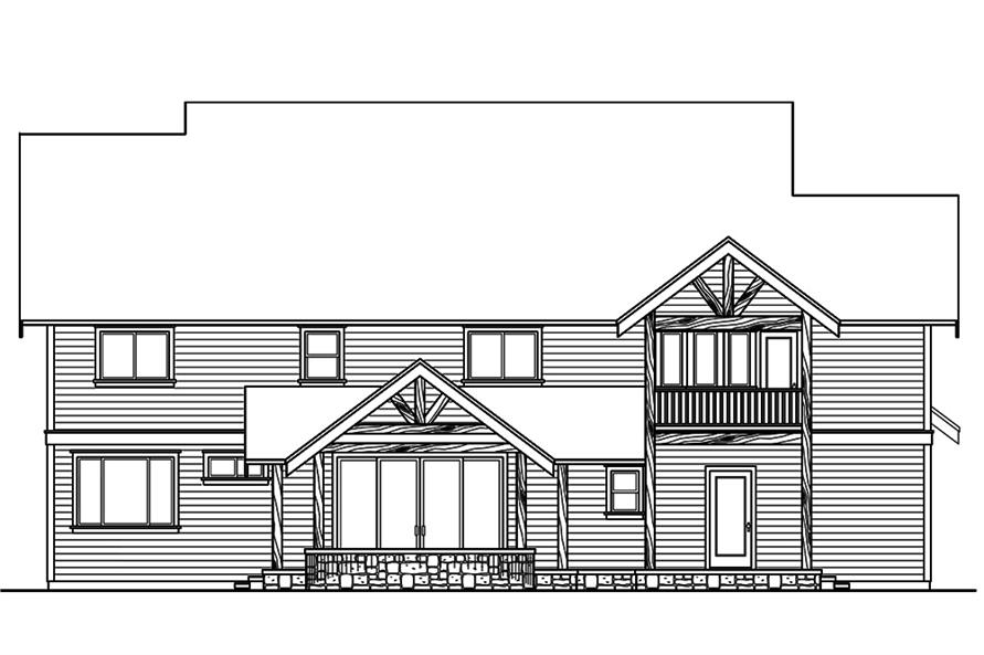 Home Plan Rear Elevation of this 3-Bedroom,4007 Sq Ft Plan -108-1801