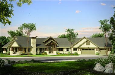 3-Bedroom, 5867 Sq Ft Craftsman House Plan - 108-1802 - Front Exterior