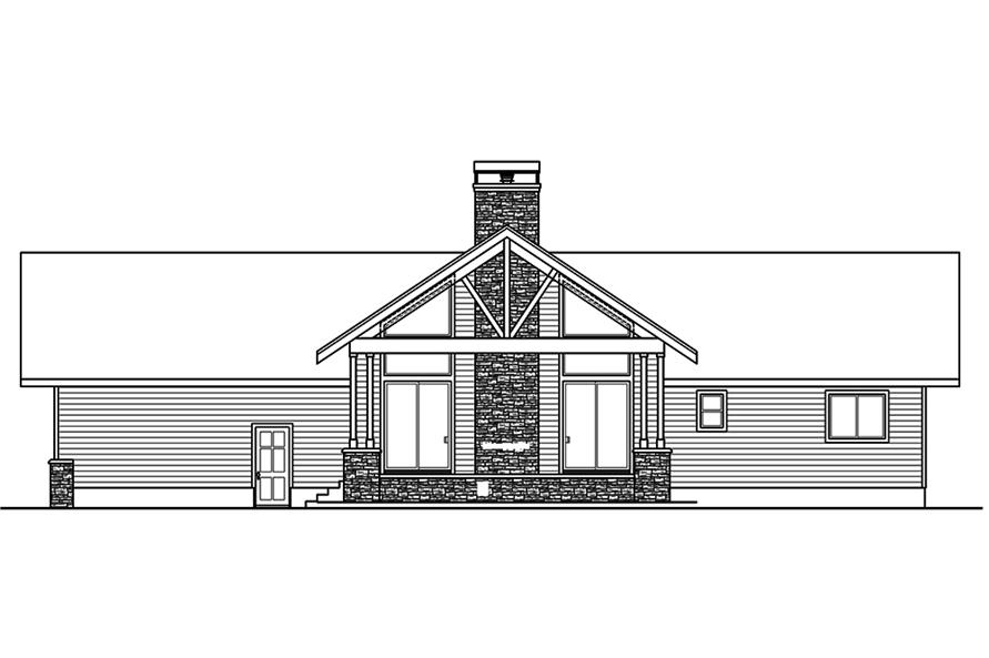 Home Plan Rear Elevation of this 2-Bedroom,1545 Sq Ft Plan -108-1807