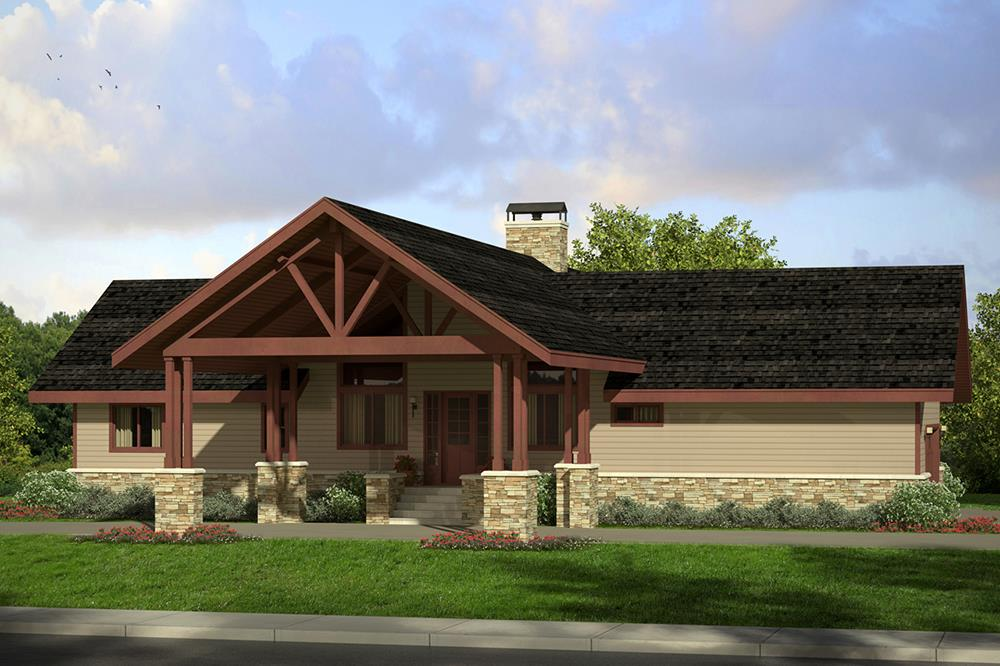 Front elevation of Cottage home (ThePlanCollection: House Plan #108-1807)