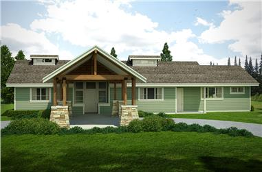 2-Bedroom, 2127 Sq Ft Craftsman House Plan - 108-1808 - Front Exterior