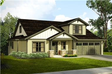 Front elevation of Craftsman home (ThePlanCollection: House Plan #108-1809)