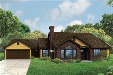 Front elevation of Ranch home (ThePlanCollection: House Plan #108-1820)