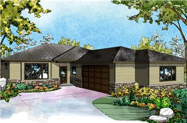 2-Bedroom, 1611 Sq Ft Ranch Home Plan - 108-1821 - Main Exterior