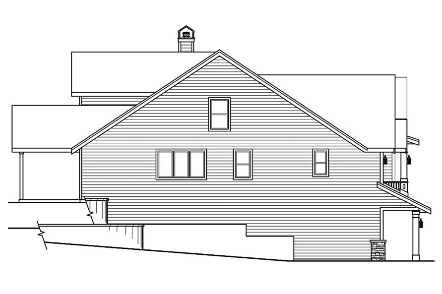 Home Plan Left Elevation of this 2-Bedroom,2595 Sq Ft Plan -108-1825