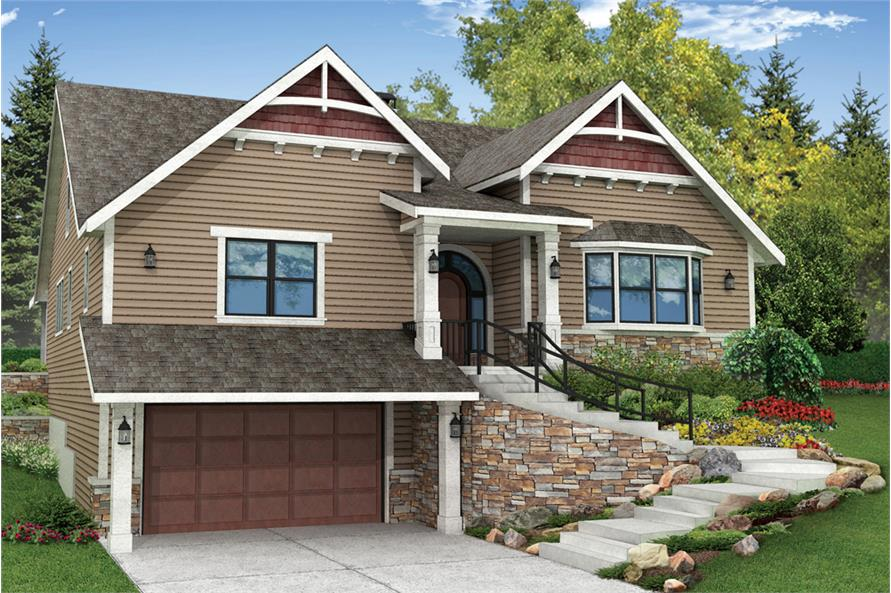 2-Bedroom, 2595 Sq Ft Craftsman House Plan - 108-1825 - Front Exterior