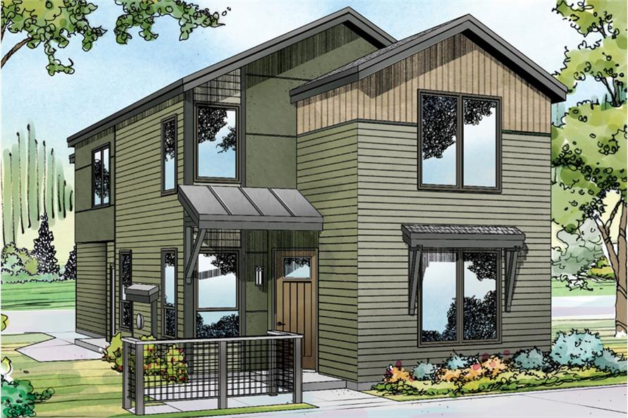 3-Bedroom, 1869 Sq Ft Contemporary House Plan - 108-1827 - Front Exterior
