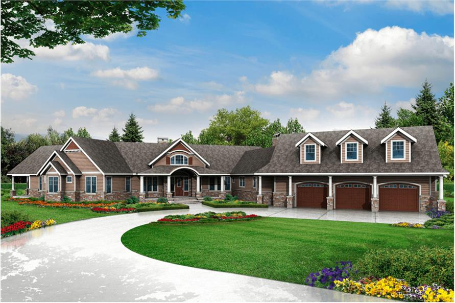 3-Bedroom, 4568 Sq Ft Country House Plan - 108-1831 - Front Exterior