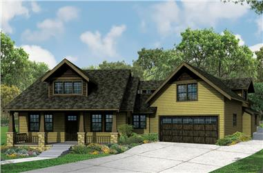 Front elevation of Craftsman home (ThePlanCollection: House Plan #108-1836)