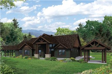 Front elevation of Ranch home (ThePlanCollection: House Plan #108-1837)