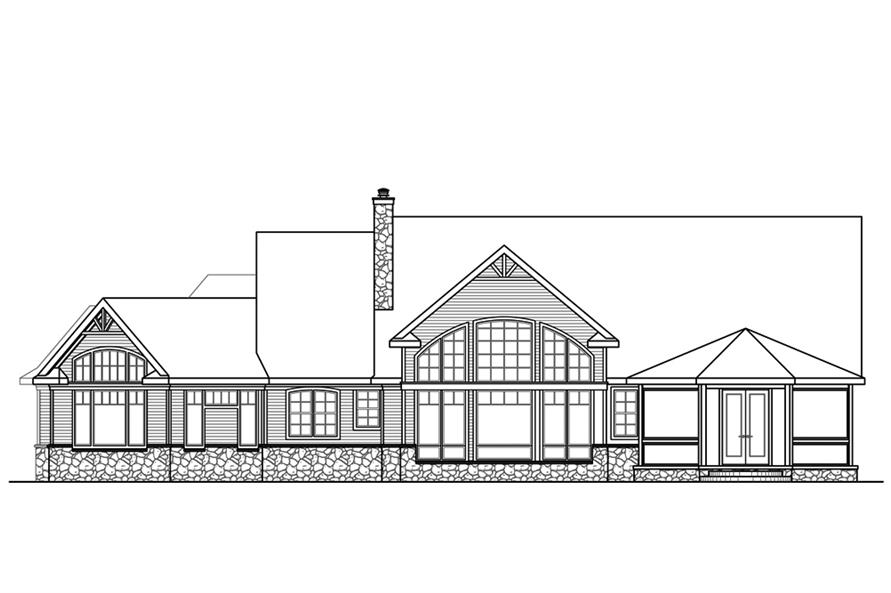 Home Plan Rear Elevation of this 3-Bedroom,4211 Sq Ft Plan -108-1843