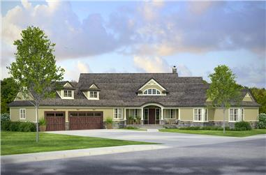 3-Bedroom, 4211 Sq Ft Country House Plan - 108-1843 - Front Exterior