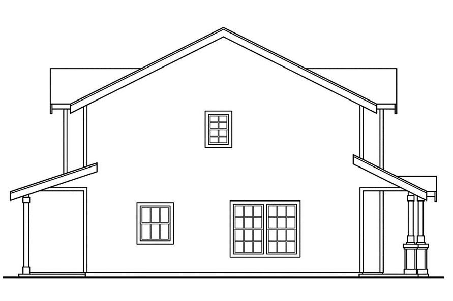 Home Plan Left Elevation of this 2-Bedroom,1071 Sq Ft Plan -108-1845