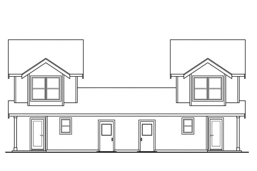 Home Plan Rear Elevation of this 2-Bedroom,1071 Sq Ft Plan -108-1845