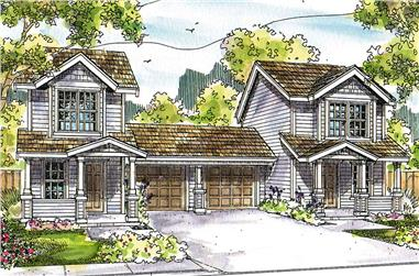 2-Bedroom, 1071 Sq Ft Multi-Unit Home Plan - 108-1845 - Main Exterior