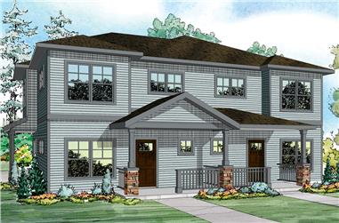 3-Bedroom, 1436 Sq Ft Multi-Unit House Plan - 108-1849 - Front Exterior