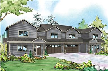 3-Bedroom, 1537 Sq Ft Multi-Unit House Plan - 108-1850 - Front Exterior