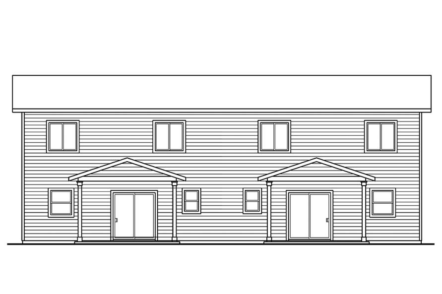 Home Plan Rear Elevation of this 3-Bedroom,1529 Sq Ft Plan -108-1851