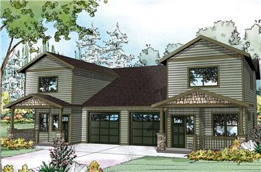 3-Bedroom, 1529 Sq Ft Multi-Unit House Plan - 108-1851 - Front Exterior
