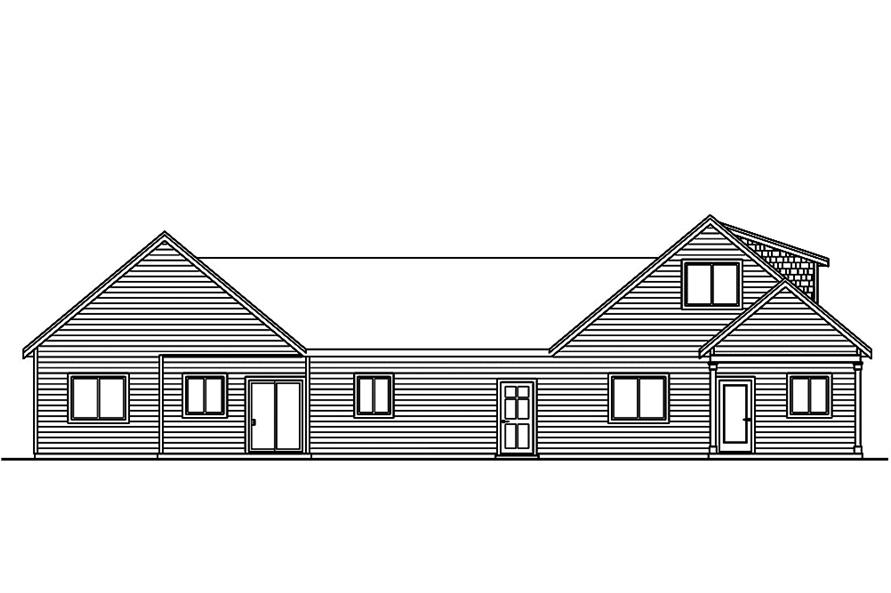 Home Plan Rear Elevation of this 5-Bedroom,2770 Sq Ft Plan -108-1852