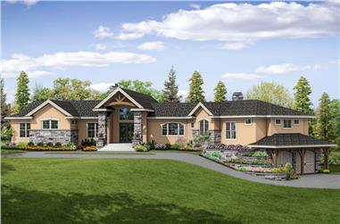 3-Bedroom, 3919 Sq Ft European House Plan - 108-1862 - Front Exterior
