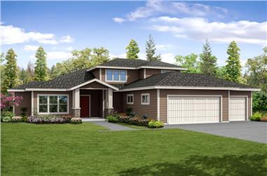 4-Bedroom, 3491 Sq Ft Contemporary Home Plan - 108-1874 - Main Exterior