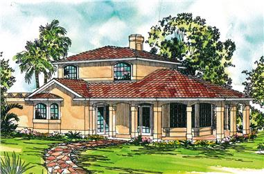 Front elevation of Mediterranean home (ThePlanCollection: House Plan #108-1878)
