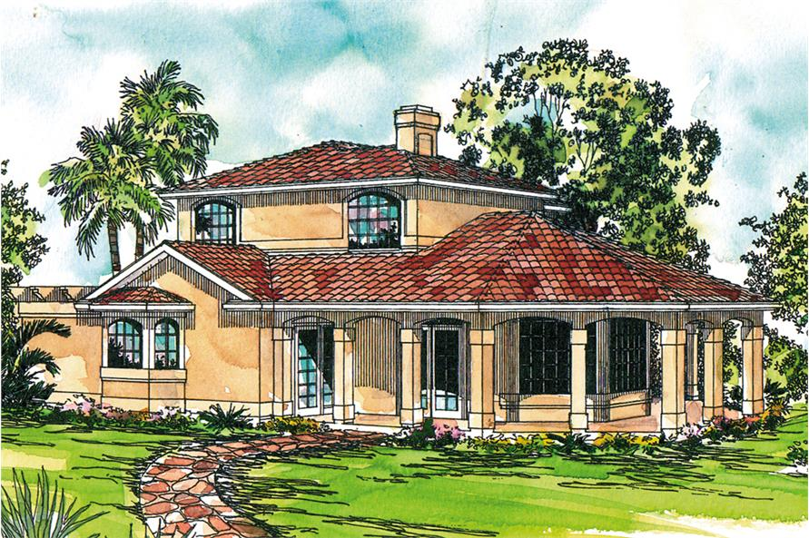 2-Bedroom, 1998 Sq Ft Mediterranean House Plan - 108-1878 - Front Exterior