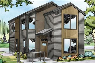 4-Bedroom, 1867 Sq Ft Contemporary Home Plan - 108-1884 - Main Exterior