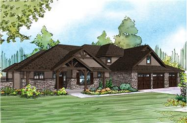 Front elevation of Craftsman home (ThePlanCollection: House Plan #108-1886)