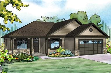 Front elevation of Ranch home (ThePlanCollection: House Plan #108-1888)