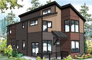 3-Bedroom, 1533 Sq Ft Contemporary House Plan - 108-1889 - Front Exterior