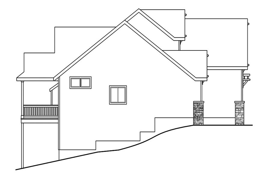 Home Plan Left Elevation of this 3-Bedroom,2013 Sq Ft Plan -108-1891