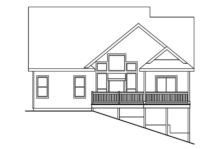 Home Plan Rear Elevation of this 3-Bedroom,2013 Sq Ft Plan -108-1891