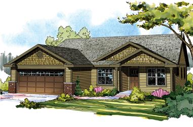 Front elevation of Craftsman home (ThePlanCollection: House Plan #108-1894)
