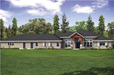 3-Bedroom, 3413 Sq Ft Contemporary Home Plan - 108-1897 - Main Exterior