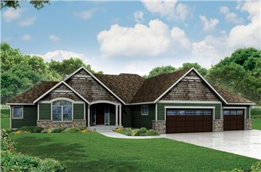 3-Bedroom, 2718 Sq Ft Ranch House Plan - 108-1904 - Front Exterior
