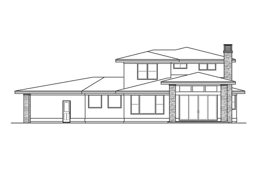 Home Plan Rear Elevation of this 3-Bedroom,3027 Sq Ft Plan -108-1910