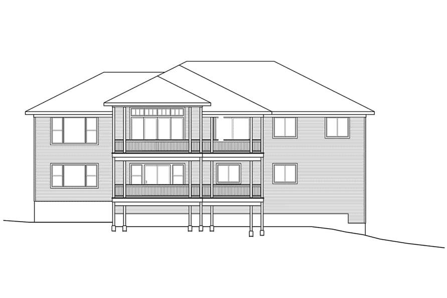 Home Plan Rear Elevation of this 3-Bedroom,3237 Sq Ft Plan -108-1922