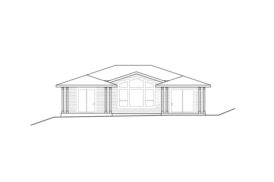 Home Plan Rear Elevation of this 2-Bedroom,1758 Sq Ft Plan -108-1930