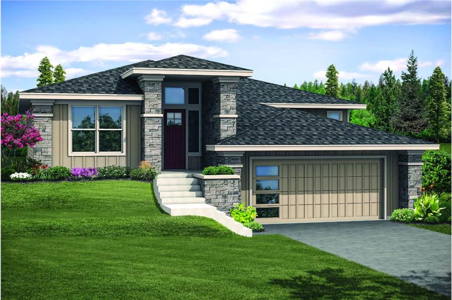 2-Bedroom, 1758 Sq Ft Contemporary House - Plan #108-1930 - Front Exterior