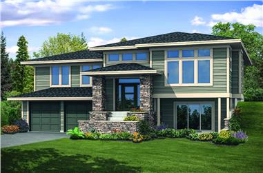 3-Bedroom, 2886 Sq Ft Contemporary Home Plan - 108-1931 - Main Exterior