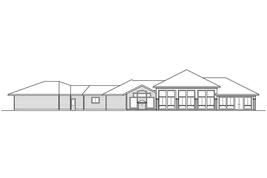 Home Plan Rear Elevation of this 3-Bedroom,3622 Sq Ft Plan -108-1934